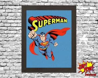 Superman Comic Wall Art Printable Instant Download