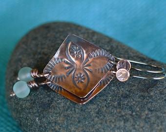 Copper Earrings, Diamond Earrings, Boho Earrings, Gypsy Earrings, Square Earrings, Bead Earrings, Stamped Earrings, Dangle earrings