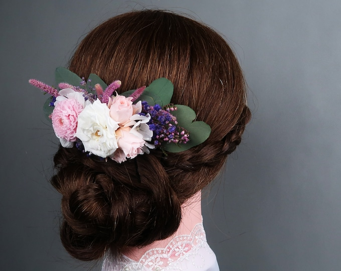White blush pink purple hair comb romantic style Preserved real flowers Bridal hairpiece boho wedding eucalyptus greenery rose hydrangea