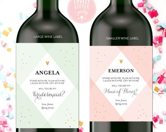Geometric Will you be my bridesmaid wine labels, bridesmaid wine labels, modern bridesmaid labels, bridesmaid gift - style 1005