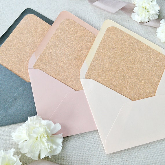 Rose Gold Glitter Liners for Euro Flap Envelopes - Glitter Envelope Liners for Invitations