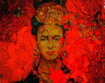 Frida Kahlo Orange Painting/Canvas/Print/WoodPrint/PopArt/Decorative/ModernArt/XXLCanvas/Quadrat/Fashion/MetalPrint/LargePaintings/HighClass