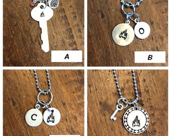 Castle Necklace / Stamping / Cinderella's Castle / Initial / Monogram / Necklace