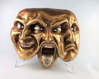 Venetian Paper Mache Mask Trifaccia, Three Faced Mask, Gold