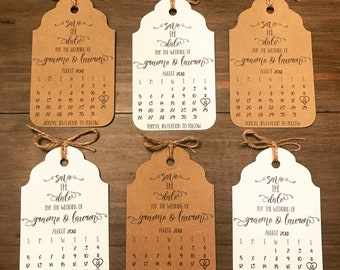 Rustic Save The Date Calendar Tags With Envelopes Personalised Wedding