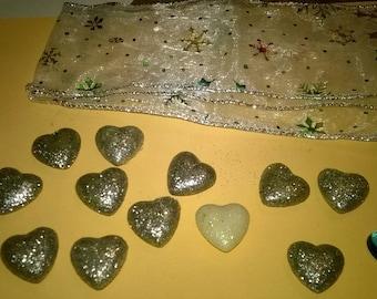 117) small silver hearts and Ribbon decoration set