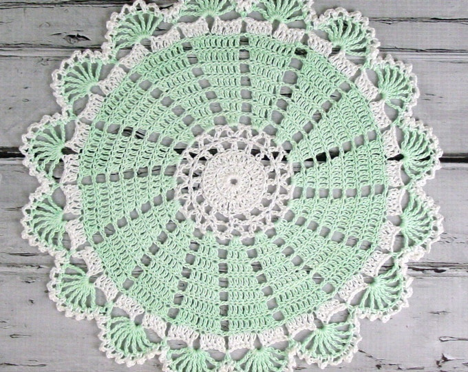 Featured listing image: Lovely Crocheted Mint Green White Doily - 10 1/2 inches