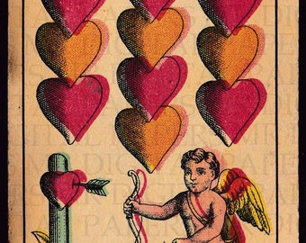 Antique Card / Antique Playing Card / Cupid Playing Card / Digital Instant Download / Paper Ephemera /German Playing Card / Heart Print Art