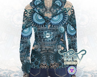 HOODIE Psytrance Futuristic Clothing Psychedelic Clothing Festival Clothing Rave Outfit Goa Clothing Psy Trance Trippy Hippie Clothing