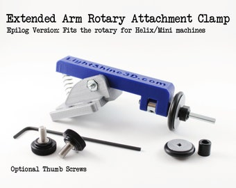 Extended Arm Rotary Attachment Clamp - Fits Epilog Helix and Mini