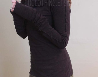 cowl tunic dress with extra long sleeves BLACK/Olive,Teal,Navy
