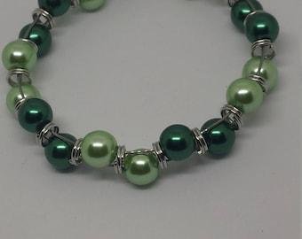 Hues of Green Memory Wire Goddess Bracelet