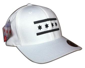 White w/Black Chicago Flag Hat