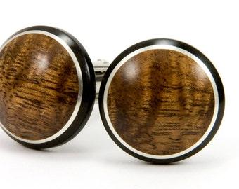 Wooden Cufflinks, Hawaiian Koa Wood Cufflinks With Ebony Silver Inlay Gift For Men, Wedding Cufflinks Groomsmen Gifts, Father's Day Gift