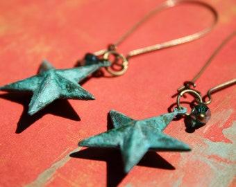 Patina star earrings