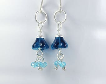 Blue glass earrings | glass flower earrings | blue jellyfish earrings | sterling silver earrings | E0167