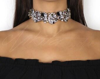 Black & Gold Rhinestone Choker Necklace