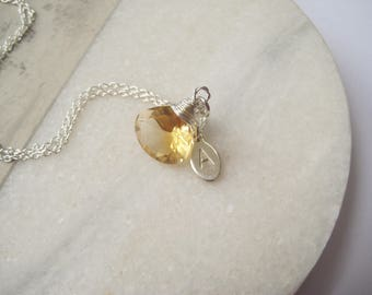 Citrine necklace, November birthstone necklace, Personalised initial birthday necklace, silver, gold gemstone necklace, so you jewellery