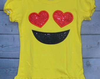 Personalized Happy Face Heart Smile Custom Applique Shirt or Bodysuit Boy or Girl