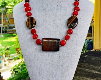 Red Coral and Tiger Eye Necklace