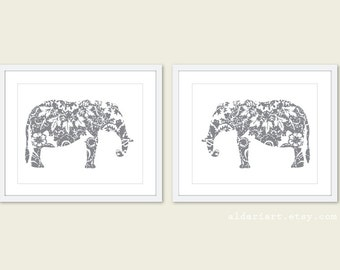 Elephant Art Prints - Set of 2 - Floral Elephant Wall Art - Modern Nursery Art - Slate Grey - African Elephant Print - Aldari Art