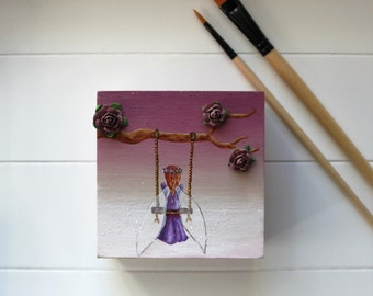 Wood fairy , box jewelry , purple fairy , gift for her , gift for a friend , gift for mom , box of secrets , box of tresor