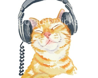 Cat Watercolour PRINT, Music Lover, Headphones, Orange Tabby, Watercolor  Ginger Cat