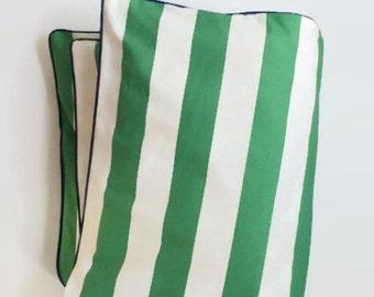 Grande bande centrale vert Toddler couette - rayure vert et blanc - couette lit - bébé moderne - bébé BCBG