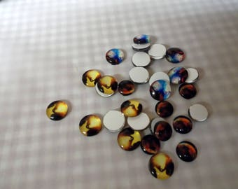 10 cabochon 10mm x 4mm round .... your choice  ..  half round ..  flat back .. glass rounded front .. great for rings