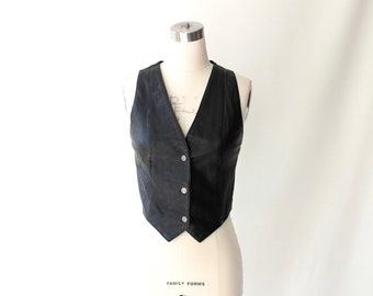 Vintage Wilsons Fitted Leather Vest with Snaps // Womens Short Black Leather Top // Small