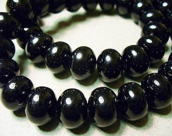 Glass Pearls Black Rondelle 12x8mm