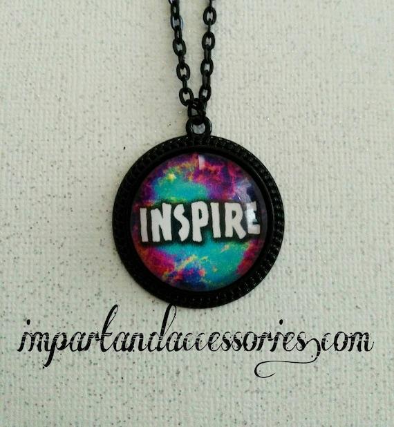 INSPIRE- positive vibe dreamer clouds sky sunset teacher mentor inspirational message black round metal 25 mm pendant necklace