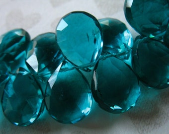 Apatite Blue QUARTZ Pear Briolettes Beads, Luxe AAA / 2-10 pcs, 11.5-13+ mm / brides bridal something blue hydqtz28 bsc