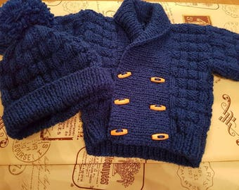 Hand Knitted Baby Boys Navy Blue  Double Breasted Cardigan with Wooden Toggle Buttons and Matching Hat Set For 0-3, 3-6 or 6-9 Months.