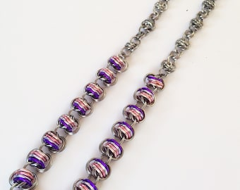 Chainmaille necklacet, black ice necklace, pink necklace, purple necklace, chainmaille necklace.