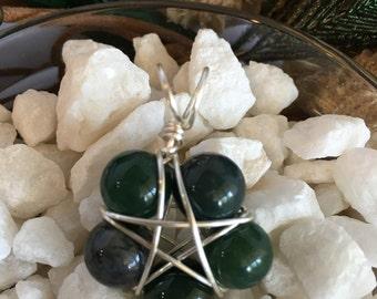 Green Moss Agate Pentacle Pendant