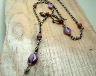 Purple Y Necklace With Gunmetal Chain 1990s Style Fall Fashion Teen Jewelry Gifts Under 20 Gifts For Her Chain Necklace