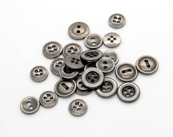 10 Pcs 0.39~0.47 Inches Retro Anti-silver/Gun Metal Hole Buttons For Shirts