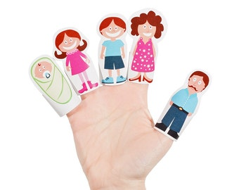 Finger Family Paper Finger Puppets - PRINTABLE PDF Toy - DIY Craft Kit - Baby Toy - Daddy, Mommy, Sister, Brother and Baby - Party Favor