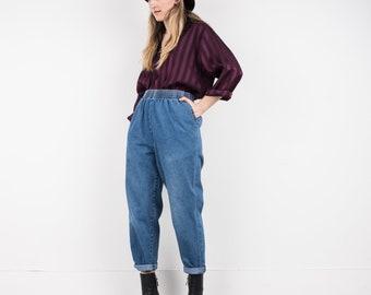 VINTAGE BLUE OVERSIZED Elastic Waist Denim Pants / S-M / boyfriend pants festival trousers with elastic waist oversized pants