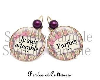 I'm adorable oreilleღ earrings... Parfoisღ love retroღ ღ ღviolet pink black bow oiseauღ flowers glass cabochon beads