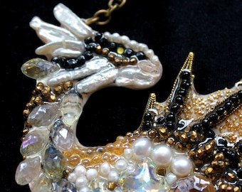 White Dragon-necklace handmade from stones, pearls and beads.