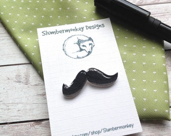Tie Pin, Moustache Tie Tack, Anniversary Gift for Him, Brother Birthday, Male Coworker, Teacher Appreciation, Groomsmen, Step Dad, Quirky.