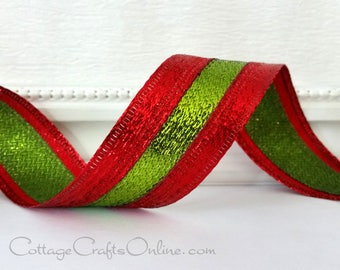 "Christmas Wired Ribbon, 1 1/2"" wide, Red and Lime Green Metallic Stripe - TEN YARD ROLL -  ""Red Gleam Stripe""  Wire Edged Ribbon"