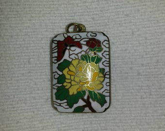 Vintage Cloisonne Pendant locket butterfly lotus chrysanthemum Jewelry enamel necklace