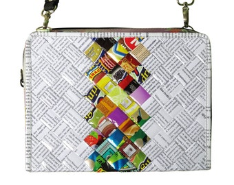 Medium zip crossbody bag using candy wrappers and office document paper - FREE SHIPPING, sweets wrappers bag, candy wrappers bag, vegan bag