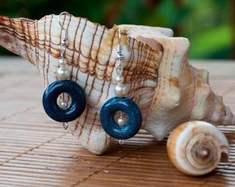Ceramic and Pearl wedding earrings