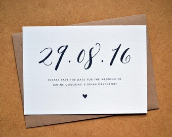 PRINTABLE Save the Date PDF - Personalised Calligraphy Heart Wedding Save the Date - DIY Digital Download Only