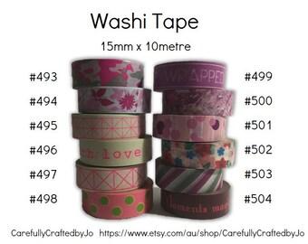 Washi Tape - Pink, Purple Patterns - 15mm x 10 metres - High Quality Masking Tape