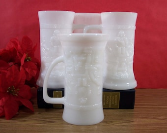 4 Milk Glass Mugs or Steins. Raised Pub Tavern Scene. Federal Glass. Vintage. 5173